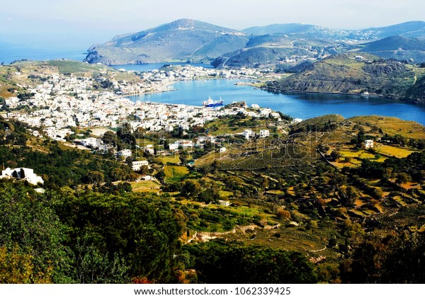 Landscape of Patmos island with the port town of Skala in the background. Patmos, Dodecannese islands, Greece.