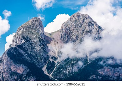 Landscape of Pedraforca, an emblematic mountain located in the Pre-Pyrenees in Catalonia, Spain