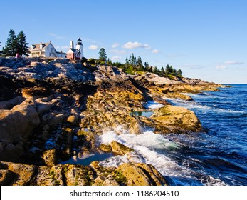 landscape of pemaquid park and pemaquid point light maine usa