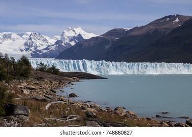 Landscape of the Perito Moreno Glacier in Argentina.