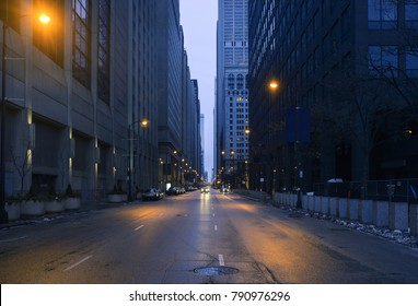 A landscape phot of downtown Chicago. The shot is taken from the middle of the street.