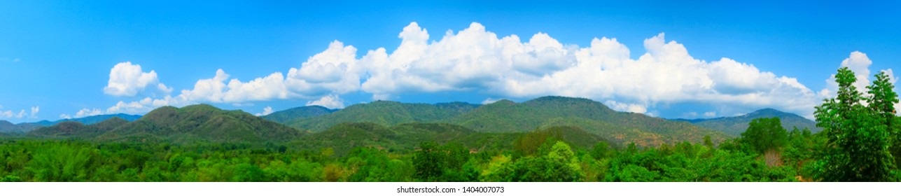 Landscape phot of mountain with blue sky and clouds. Panorama of nature.