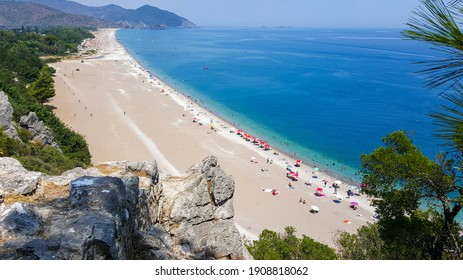 Landscape photo of Çıralı Beach from the ruins of port castle in Olympos Ancient Greek city in Antalya, Turkey.