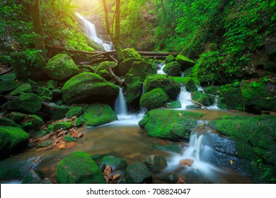 The landscape photo, beautiful rainforest waterfall in deep forest in Thailand
