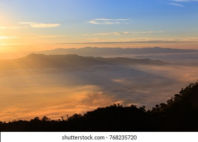 The landscape photo, beautiful sea fog  in morning time at Doi Luang Chiang Dao Forest Park, Chiangmai, Thailand.