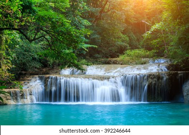 The landscape photo, beautiful waterfall in rainforest, Erawan National Park in Kanchanaburi, Thailand