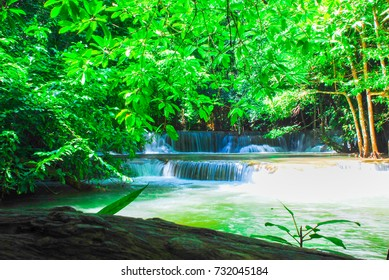 Landscape photo, beautiful waterfall in rainforest  , Kanchanaburi province , Thailand