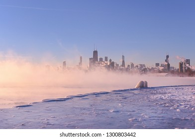 A landscape photo of the Chicago skyline during the polar vortex storming across Lake Michigan.