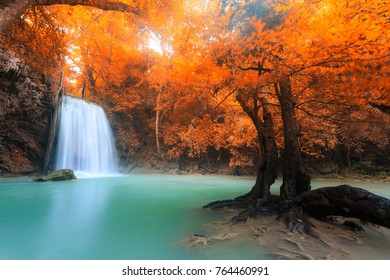 Landscape photo, Erawan Waterfall, beautiful waterfall in rainforest at Kanchanaburi, Thailand.