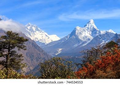 landscape photo of Himalaya range from Nepal