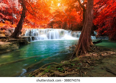 The landscape photo, Huay Mae Kamin Waterfall, beautiful waterfall in autumn forest, Kanchanaburi province, Thailand