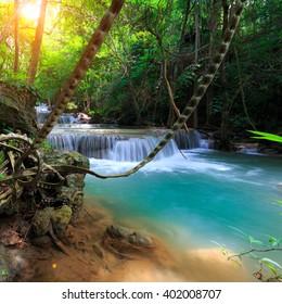 The landscape photo, Huay Mae Kamin Waterfall, beautiful waterfall in rain forest, Kanchanaburi province, Thailand