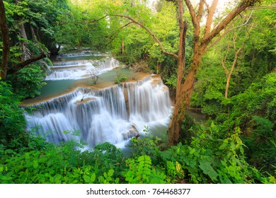 Landscape photo, Huay Mae Kamin Waterfall, beautiful waterfall in rainforest at Kanchanaburi province, Thailand