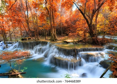 Landscape photo, Huay Mae Kamin Waterfall, beautiful waterfall in rainforest at Kanchanaburi province, Thailand