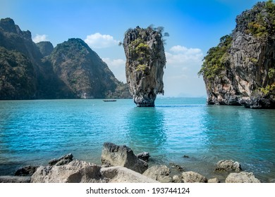 landscape photo of Khao Phing Kan island, known as james bond island in phuket/James bond