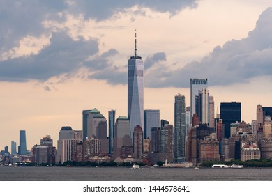 Landscape photo of the Manhattan skyline seen from the East River ferry to Staten Island just before a storm hits the city. Shot in New York City.