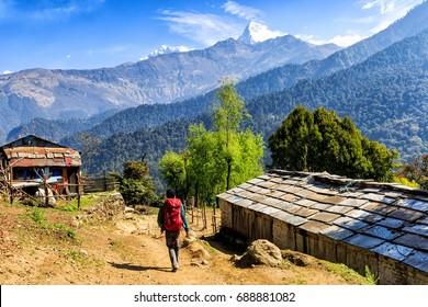 Landscape photo of mountain village in Nepal