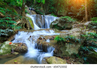 Landscape photo, Pha Tak Waterfall, beautiful waterfall in rainforest at Khao Laem National Park in Kanchanaburi,Thailand.