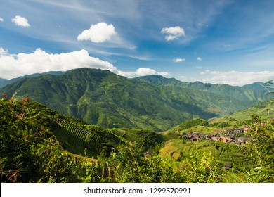 Landscape photo of rice terraces and ping'an village in longsheng southern china