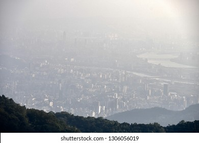 Landscape photo of Taipei city from Yang Ming Shan mountain in bad weather day