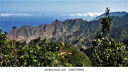 landscape photographs of Tenerife with typical rocks of the area Taganana, sun and sadows, Tenerife, Canary Islands, Spain,  blue sea, Atlantic ocean,