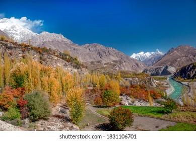 landscape photography of autumn season of northern areas of gilgit baltistan , Pakistan