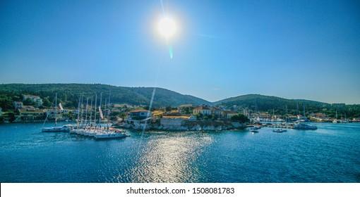 Landscape photography of Fiscardo port on Kefalonia, Greece