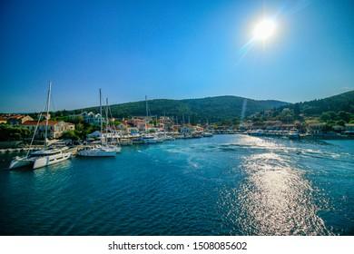 Landscape photography of Fiscardo port on Kefalonia island during sunset, Greece