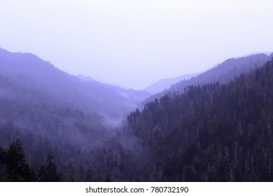 Landscape Photography of the Great Smokey Mountains National Park with Heavy Fog and Mist.
