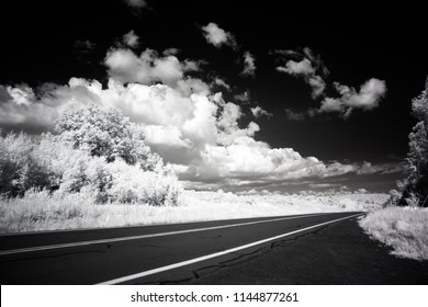 Landscape Photography, High Contrast, Wideband Infrared Photo Captured With Full Spectrum Camera Equipment