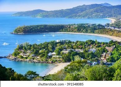 Landscape of Phuket. Patong Beach, Karon Beach, Kata Beach, Taken from Karon Viewpoint. Located in Phuket, Thailand.