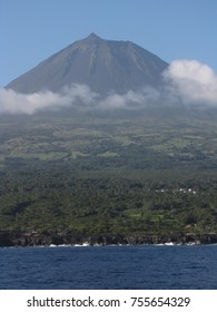 Landscape of Pico Island seen from the sea towards São Jorge