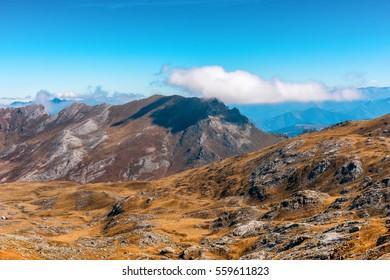 Landscape Picos de Europa mountains next to Fuente De village, Cantabria, Spain.