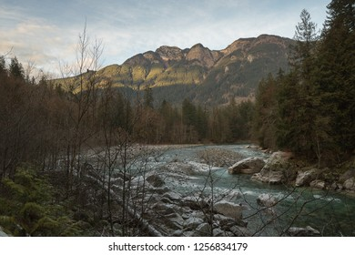 Landscape picture of british columbia canda, river in the front and mountains in the back