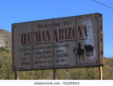 Landscape picture of an old welcome sign to Oatman, Arizona, USA