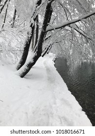 Landscape picture of Plitvice waterfalls and National Park, Croatia in the snow