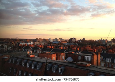 Landscape picture of the view of London rooftops during sunset shot in England