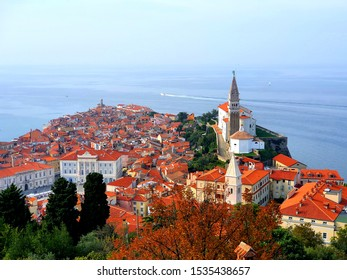 landscape in piran in Slovenia at walls of piran