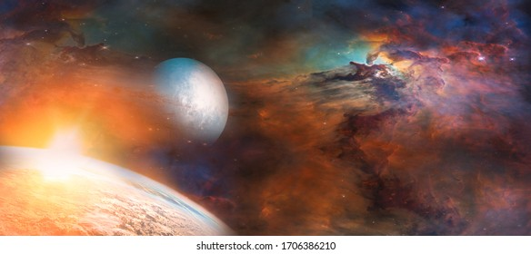 Landscape of Planet, Sunrise and Earth view from space. (Elements of this image furnished by NASA) - Shutterstock ID 1706386210