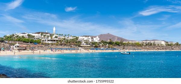 Landscape with Playa Blanca and Dorada beach, Lanzarote, Canary Islands, Spain