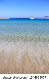 landscape of Pori beach at Ano Koufonisi island Cyclades Greece