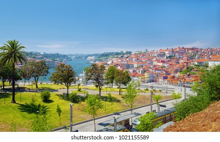 Landscape of Porto, Portugal, with Douro River on left side and green hill of Morro Garden on foreground.