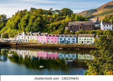 Landscape of the Portree, capital and largest town on The Isle of Skye, Scotland, UK.