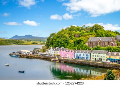 landscape of the Portree harbor in scotland, uk