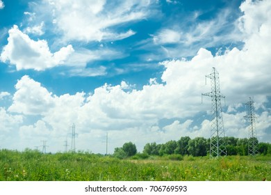Landscape with power lines.