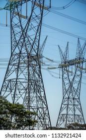 Landscape of power lines in Itaipu Binacional Hydroelectric Plant, Foz do Iguacu, Parana State, South Brazil