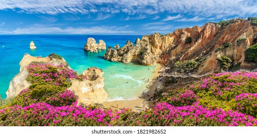 Landscape with Praia do Camilo, famous beach in Algarve, Portugal