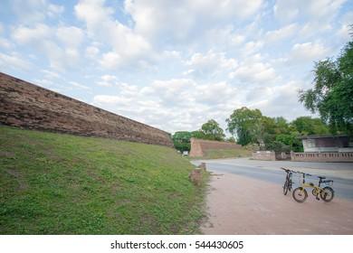 landscape public park brick wall