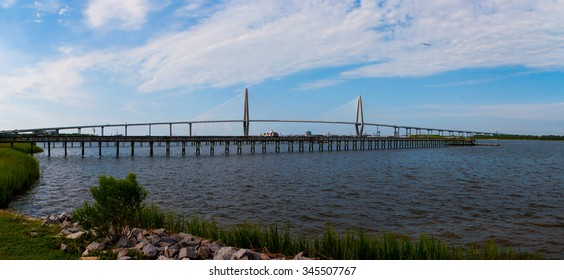 Landscape of the Ravenel Bridge and Charleston Harbor