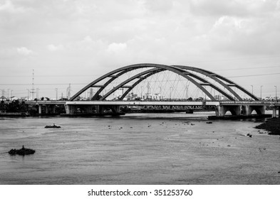 Landscape of the red bridge. Black and white